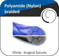 Polyamide (Nylon) braided, blue or black